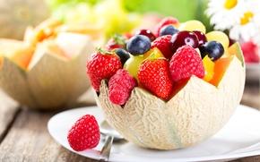 Обои ягоды, малина, черника, клубника, фрукты, fresh, десерт, дыня, fruits, berries, фруктовый салат