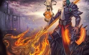 Картинка девушка, огонь, магия, воин, арт, маг, мужчина