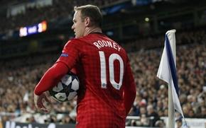 Картинка футбол, мяч, football, Лига, Руни, Rooney, Champions, чемпионов, Манчестер, Manchester, United, флажок, Wayne, League, Уэйн, …