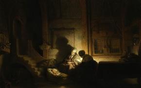 Картинка картина, мифология, Рембрандт ван Рейн, Святое Семейство