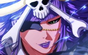 Картинка skull, girl, game, Bleach, green eyes, woman, anime, katana, pretty, ken, lips, face, bankai, asian, …