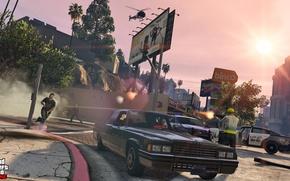 Картинка машины, полиция, вертолет, перестрелка, Grand Theft Auto V, gta 5, gta online