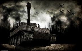 Обои гарь, война, танк, лес, самолеты