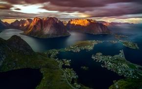 Картинка небо, острова, горы, скалы, фьорды