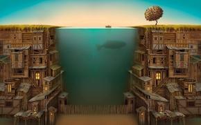 Обои лодка, под водой, окна, дно, дерево, забор, дом, кит