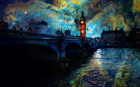 Картинка Космос, мост, London, ночь
