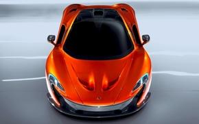 Картинка McLaren, Авто, Машина, Оранжевый, Капот, Автомобиль, Вид сверху, Суперкар
