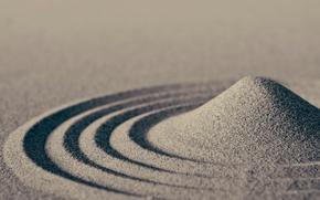 Картинка песок, волны, макро, круги, sand