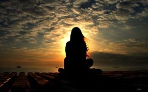 Картинка море, небо, девушка, солнце, облака, пейзаж, закат, природа, ветер, портрет, корабли, вечер, силуэт, прогулка, Сочи