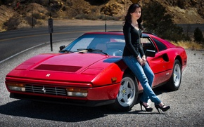 Картинка девушка, 1986, Ferrari 328 GTS