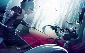 Картинка девушка, оружие, аниме, арт, парень