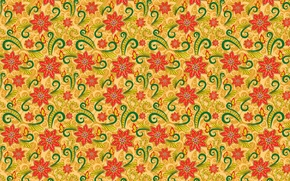 Картинка цветы, оранжевый, узор