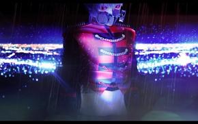 Картинка дождь, арт, противогаз, парень, ночной город, iinoone