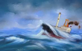 Обои волны, шторм, корабль, картина, морской пейзаж