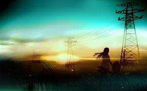 Картинка девушка, пейзаж, закат, велосипед, провода, арт, лэп, rushka