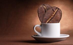 Картинка минимализм, креатив, чашка, зерна, стакан, кофе