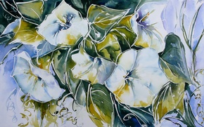 картина,акварель,цветы,стиль обои