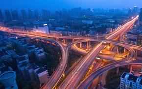 Обои дорога, ночь, lights, огни, движение, трафик, эстакада, мегаполис, traffic, Night city, blue mist