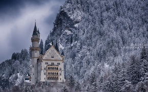 Картинка зима, лес, снег, горы, замок, Германия