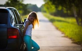 Картинка дорога, авто, девушка, on the road