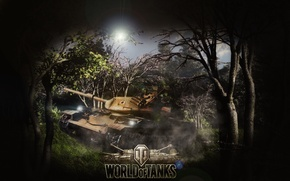 Картинка деревья, дым, взрывы, техника, Танки, WORLD OF TANKS