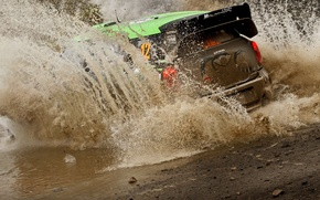 Картинка Англия, Mini, ралли, WRC, брод, Мини, Крис Аткинсон