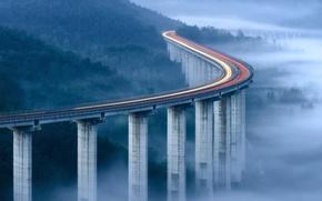 Обои свет, мост, огни, туман, утро