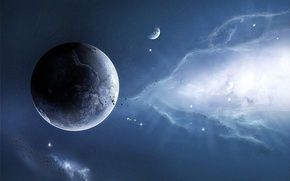 Обои планеты, звезды, туманность