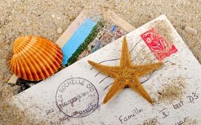 Картинка песок, письмо, ракушка, морская звезда