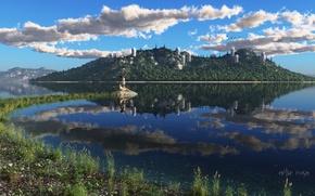 Картинка трава, острова, облака, город, озеро, гладь, отражение, девушки, берег, рендер