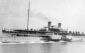 Картинка ретро, пароход, старый, old, steamship, passengers, колесник
