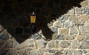Обои свет, стена, widescreen, обои, камень, тень, кладка, фонарь, wallpaper, широкоформатные, background, обои на рабочий стол, ...