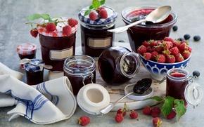 Картинка ягоды, малина, банки, джем
