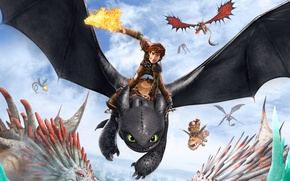 Картинка Action, Fantasy, Dragon, Art, DreamWorks, Family, Animation, Viking, Movie, Adventure, Comedy, Jay Baruchel, Hiccup, How ...