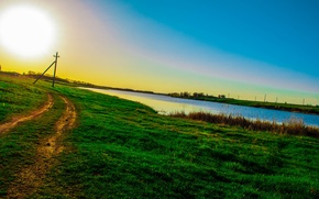 Картинка небо, солнце, Дорога, травка, зелено, photography Tanya Batrak