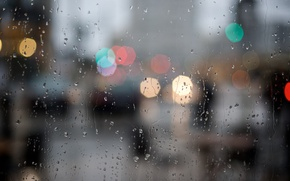 Картинка стекло, капли, город, огни, дождь, вечер