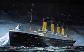 Картинка Небо, Море, Ночь, Рисунок, Лайнер, Айсберг, Титаник, Судно, Titanic, Момент, Пассажирское судно, RMS Titanic, на ...