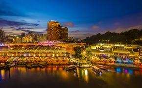 Картинка ночь, город, огни, здания, дома, небоскребы, причал, подсветка, залив, Азия, Сингапур, Singapore