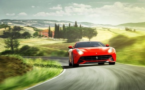 Обои ferrari, f12, berlinetta, red, front, феррари