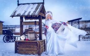 Картинка зима, кот, шапка, платье, блондинка, колодец, корсет, платок
