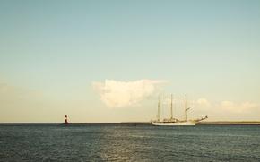 Картинка море, небо, берег, маяк, корабль, парусник, облако