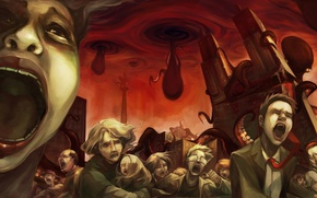 Картинка город, толпа, ужас, осьминоги, Octopocalypse