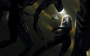 Обои арт, девушка. взгляд, sci-fi, фантастика, роботы, костюм