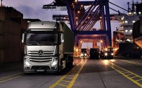 Картинка кран, порт, Mercedes, груз, Actros