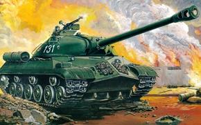 Картинка арт, танк, Египет, СССР, сражение, ночной, пулеметы, вооружение, тяжелый, советский, калибр, КНР, ИС-3, поставлялся, 122-мм, ...