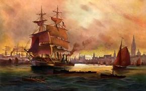 Картинка море, небо, пейзаж, город, люди, лодка, корабль, картина, порт, паруса, Alfred Jansen