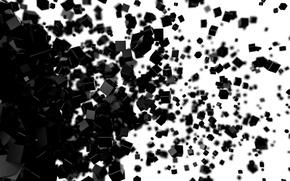 Обои рендер, кубики, белый, черный