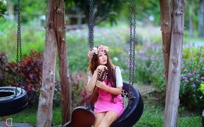 Картинка девушка, музыка, качели, гитара, азиатка