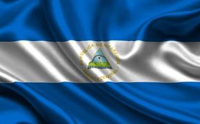 Картинка Белый, Флаг, Голубой, Герб, Текстура, Flag, Nicaragua, Никарагуа, Республика Никарагуа, República de Nicaragua