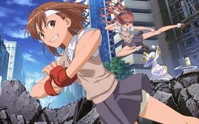 Картинка улица, драка, разрушение, школьницы, to aru majutsu no index, shirai kuroko, mikoto misaka